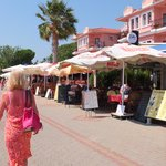 The promenade above the beach with Hulki's indian restaurant (great).