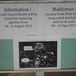 Pusat Belia temporary closure notice