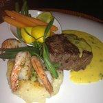 Beef tenderloin and Garlic Shrimp, bearnaise sauce and baby veggies