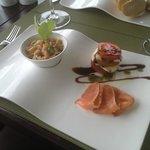 Home cured salmon, salmon and avocado tartar and a capresa salad