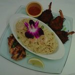Our delectable Teriyaki Salmon, Volcano Pasta and Coconut Shrimp!