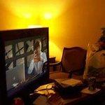 swivel tv on a beautiful  piece of furniture