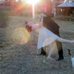 Dancing on the lawn after wedding