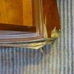 Damaged bedside furniture