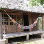 The front of our bungalow: lots of great time in that hammock!