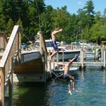 Jumping off the bridge was a HUGE hit!   Huge swim area with shallow & deep areas with swim dock