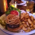 Crispy Black and Blue Burger w/ potato wedges