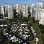 Caravan park below