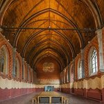 The solemn nuns' refectory with its wooden roof is breath-taking
