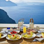 The ultra decadent breakfast with a view from our terrace