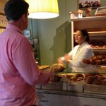Making the purchase - note the golden croissant award in the background!