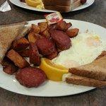Deep fried polish sausage and eggs, soggy toast