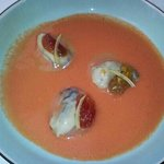 Huîtres pochées, gaspacho tomates et pastèques
