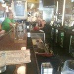 nice bar with dark qood ans marble