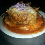 Delicious Volcano burger smothered in red Chile