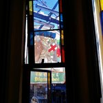 Stained glass windows in the bedrooms.