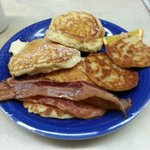 Pancakes, grilled english and bacon