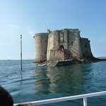 A view of the Château du Taureau from the boat