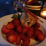 Seasonal strawberries with homemade vanilla ice cream