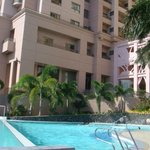 Hotel pool and building