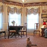 Leece enjoys a moment in the front parlor