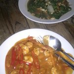Delicious chilli prawns. Also green veg with egg... yum,
