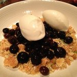 Goat cheese sorbet with blueberries