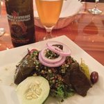 tabbouleh and stuffed grape leaves appetizer