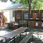 Outdoor seating area / recycling station