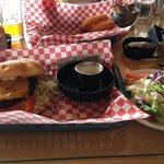 cheeseburger, salad and yummy onion rings