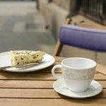 Enjoy a cake and coffee outside