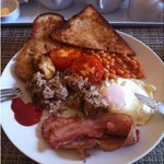 Fabulous breakfast! (Sorry i chopped up the sausage before taking the photo!)
