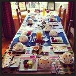 La tavola apparecchiata per la colazione