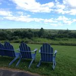 Adirondack chairs at the end of the motel drive.