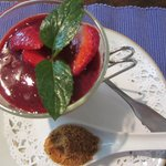 strawberry panna cotta desert
