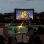 Pool area activity!  Movie night!