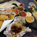 beef and chicken taco with dif. salsas
