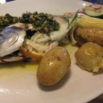 Salt Baked Bream with Sicilian Salad, Salsa Verde & Cornish New Potatoes