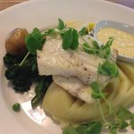 Grilled Local Halibut Fillet with Baby Cornish Spring Vegetables, Creamy Mashed potato
