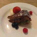 Rhubarb & Amaretto Torte with Clotted Cream
