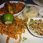 Tiger Prawn & Spiced Monkfish Curry with Pilaf Rice, Yoghurt & Walnut Chutney