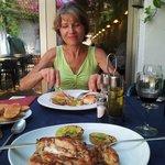 My mom enjoying salmon