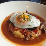 Poached duck egg on anson mill grits....so yummy!! Doe Bay Cafe