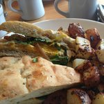 Fried egg sandwhich and rosemary potatoes-Doe Bay Cafe