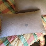 lovely stain of something on the throw pillow