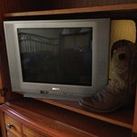 the ancient TV you got to look at from across the room (yes that is my boot next to it for scale