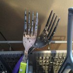 Dirty forks in dishwasher