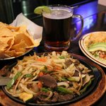 Fajitas and draft beer