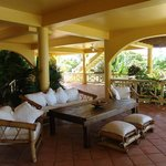 Loggia downstairs view on sea and pool