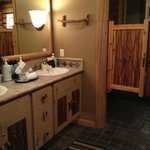 The super cool bathroom. Floors are heated in the winter